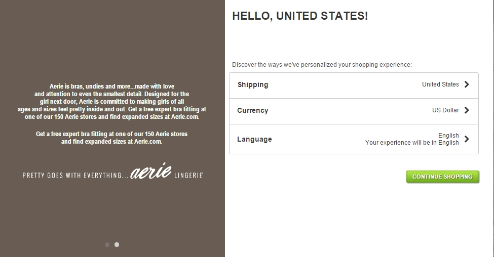 ecommerce checkout page example American Eagle Outfitters