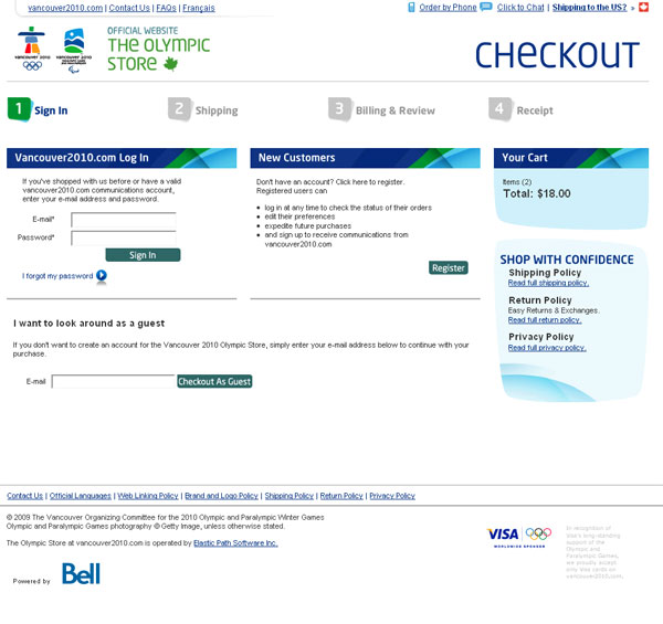 Ecommerce Checkout page Example - The Olympic Store